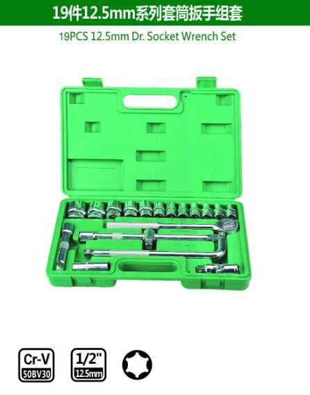 19PCS 12.5mm Dr.Socket Wrench Set