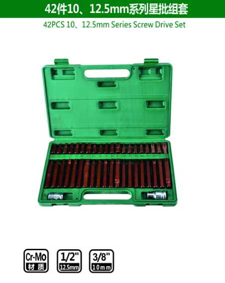 42PCS 10、12.5mm Series Screw Drive Set