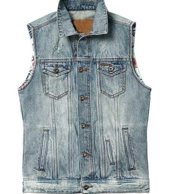 Wholesale 100% Cotton Indigo Fashion Biker Men's Denim Waistcoat