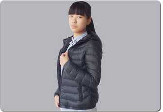 Outdoor and Indoor wear black women down jacket