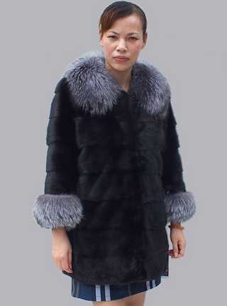 winter turn-down collar black mink fur coat women