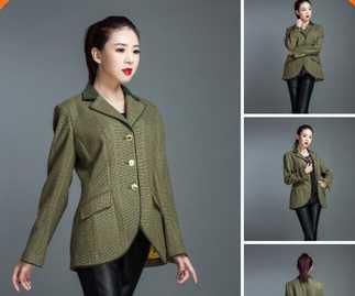 Wollen lady jacket mandarin collar suit