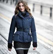 WIND PROOF FITTING SHAP WITH BELT WOMAN'S DOWN JACKET