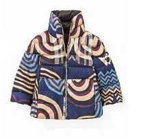 Light weight jacket with side zippe print women's down effect polyfill jacket