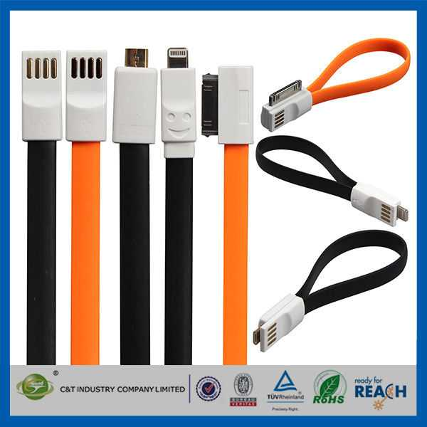 Flat Magnetic Premium Data Cell Phone USB Cable , IOS8 USB Data Line1