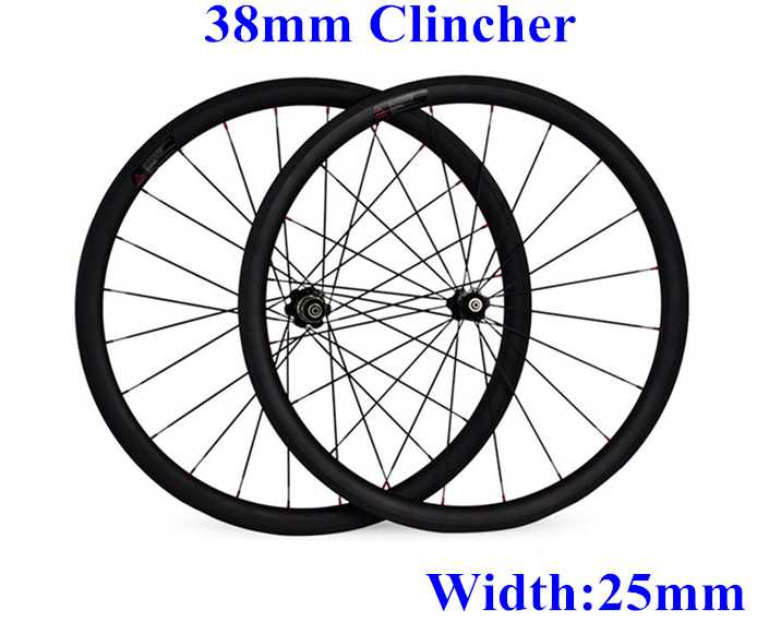 Wholesale 38mm clincher Road Wheels Carbon Wheelset Full Carbon Bicycle Wheelset 25mm Width of Carbon Bicycle Wheels