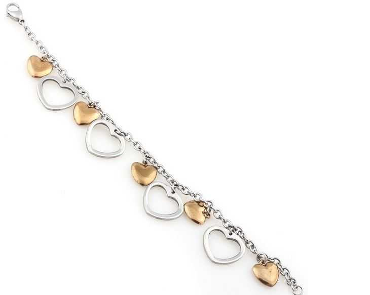 2014 Fashion Jewelry for Women Bracelet Silver Gold Plated Stainless Steel Heart Flower Clasp Link Chain Thin Charm Bracelets