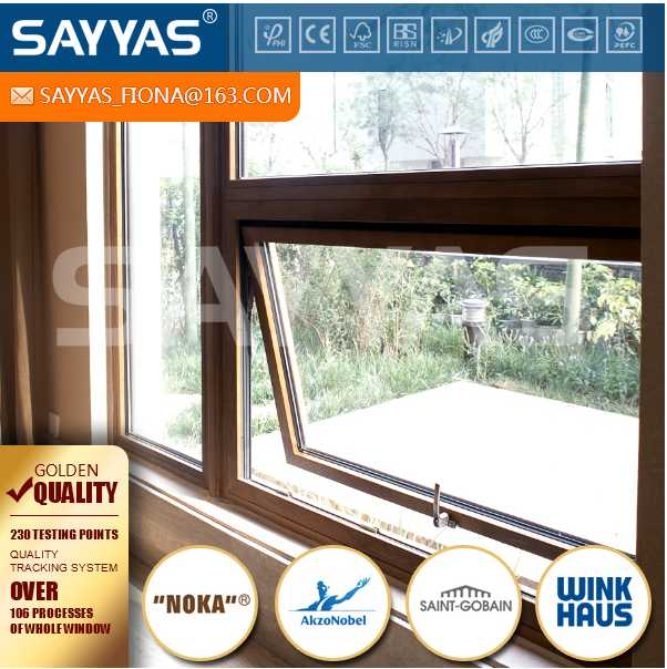 aluminum clad wood outward open window awning type