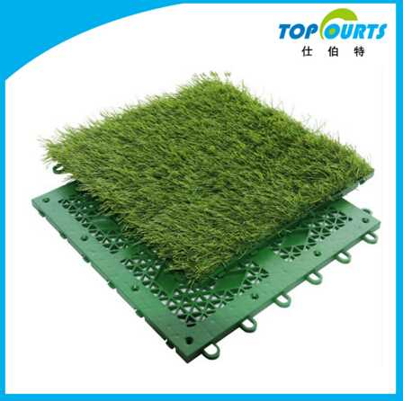 Portable plastic interlocking artificial grass tile