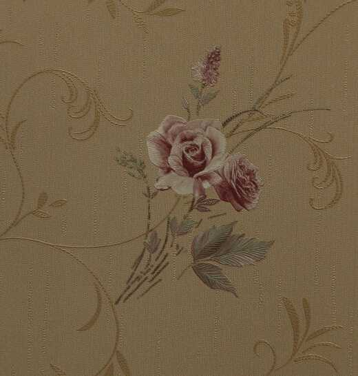 home decoration design waterproof natural country rose flower vinyl wallpaper of china wallpaper factory