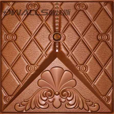 Art Decorative faux leather Wall covering Panels with rhombus retro embossed