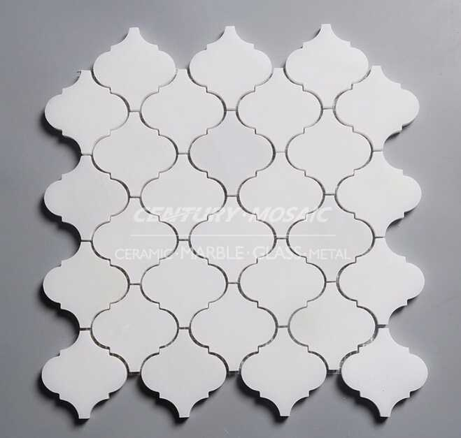paper onyx arabesque water jet polished white marble mosaic wall tile