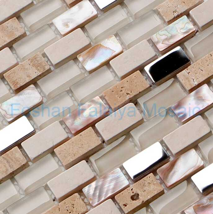 Glass and Shell Mosaic Brick for Interior Wall Decoration DB1530BE