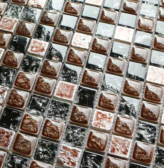 New Design Cracked Glass Mixed Ceramic Mosaic Tile for Backsplash 23047