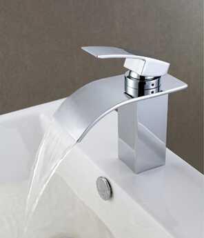 Single hole brass bathroom wash basin waterfall faucet