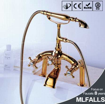 Antique Brass three handles deck mount shower Tub Faucet with Hand Shower - Ti-PVD Finish