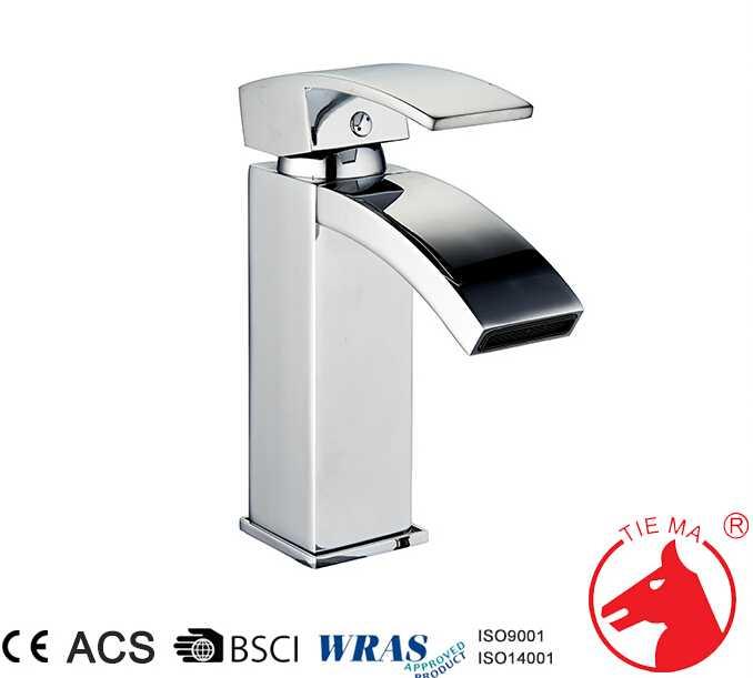 Chrome tall size single hole waterfall basin faucet