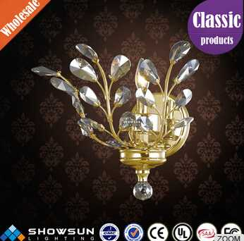 2016 discount attractive golden wall sconce with beautiful leaf k9 crystal