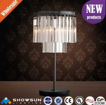 Pure and transparent 2 layers round crystal table light for event