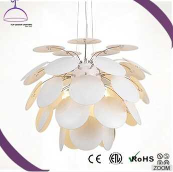 Chandelier with white Glass chip Shade modern