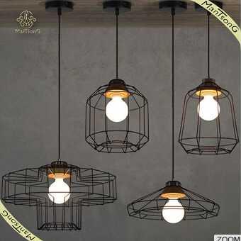 Industrial lamp wrought iron , retro single head pendant light