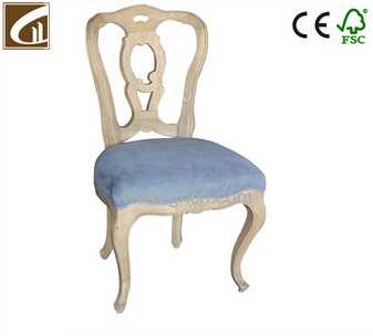 wholesale vintage natural linen fabric upholstered hand carved oak wood dining chair