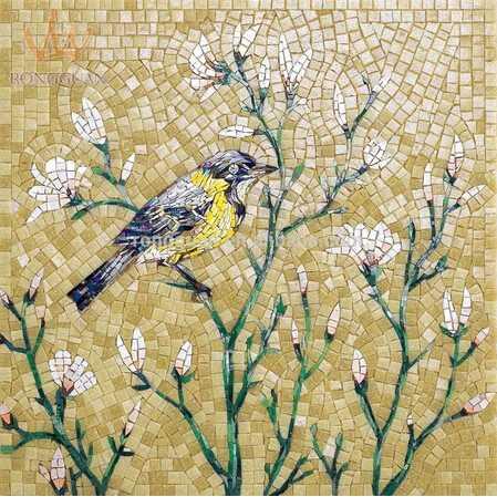 Mosaico wall mural of glass tile hand-cut design parquet