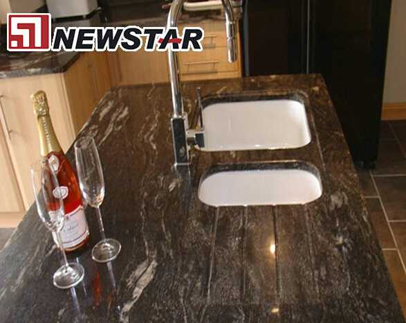 Newstar polished surface cosmic black modular granite countertops