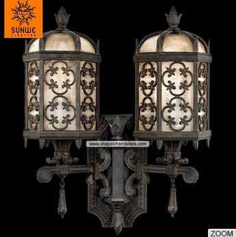 Ttraditional corridor 2 lights Wrought iron finished Metal textured glass wall lamp