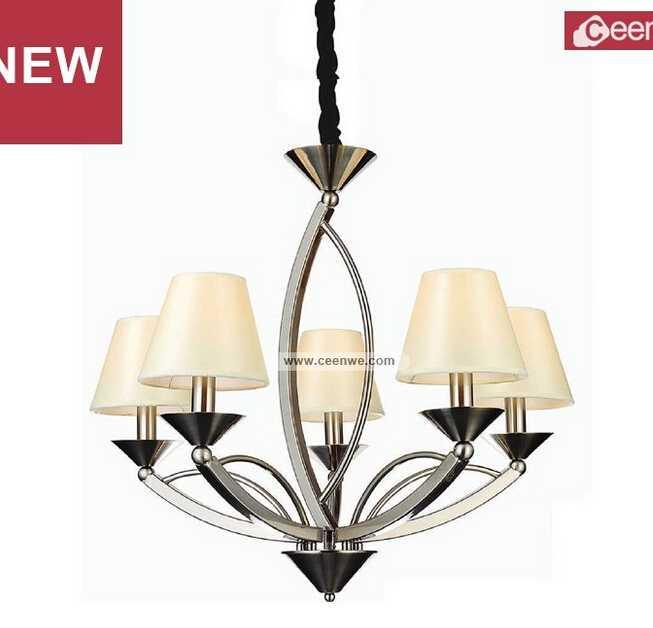2015 New Design Modern 5 Lights LED iron sand nikel living room chandelier