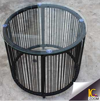 High Quality garden wicker furniture outdoor clear glass modern coffee table