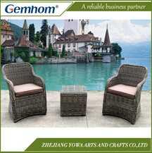 Gemhom Round Rattan 3 Piece Lounge Set