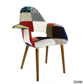 Modern design simple dining room furniture wood leg patchwork chair