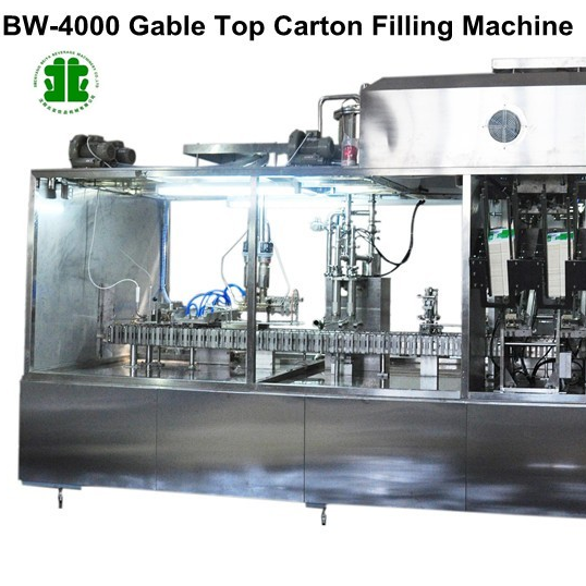Fully Automatic Milk Gable-Top Carton Filling Sealing Machine (BW-4000)
