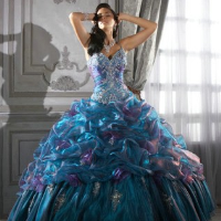 Ball Gown Chapel Train Organza Sweetheart Beading Bridal Dress