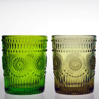 high quality round drinking decorated colored glass tumblers