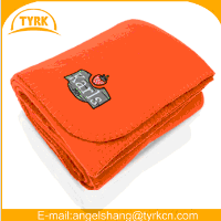 100%polyester 125*150cm cozy warm red color polar fleece blanket with customized design