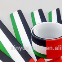 wholesale silicone UAE national flag slap bracelet UAE flag wristbands