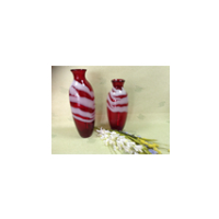 Red Color with white design Glass vase Set Wholesale