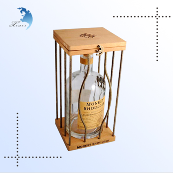 Promotional Screen Printing Custom Design Packaging Wooden Wine Cage/Box