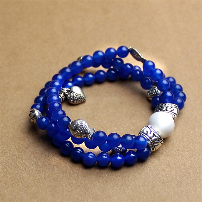 2014 Hot Sale Natural Dyed Blue Agate String