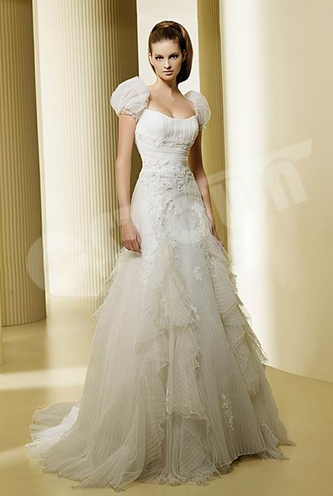 Cap Sleeves With Multi Layer Net Bridal Gown Wedding Dress (02051111)