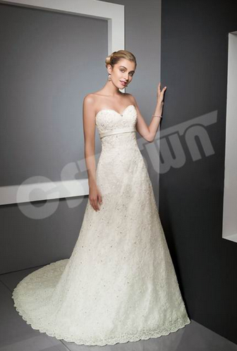Morden off Shoulder Lace Embroidered Bridal Gown (02051105)