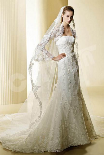 Long Sleeve Mermaid Lace Bridal Gown (02051108)