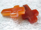 Carnelian/red agate cross stone beads