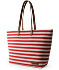 stripe canvas handbags/ promotional canvas beach tote bags/ canvas shopping bag with pu leather handle