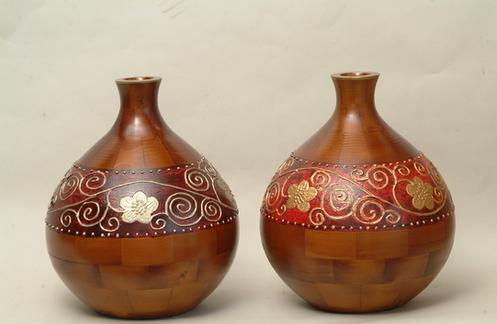 Wood Vase, Soild Wood Vase