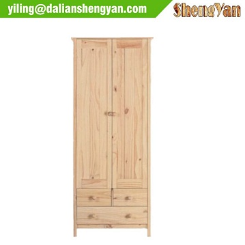 Simple Design Modern Flat Pack Pine Wood Bedroom Set Wardrobe Furniture