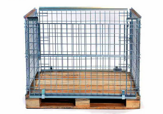 Collapsible metal steel wire mesh pallet cage with wooden pallet