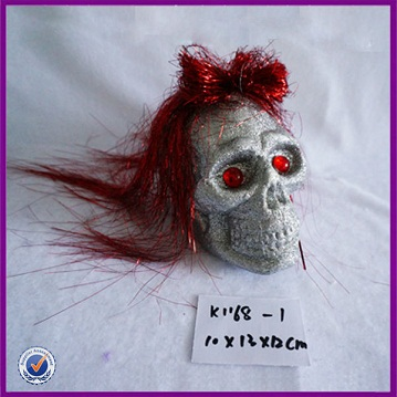 Light halloween decoration skull with red hair